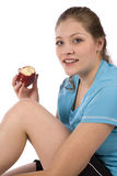 Woman eating a healthy apple Stock Images