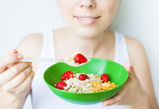 Woman eating healthy Royalty Free Stock Photo