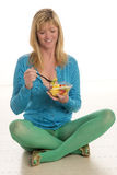 Woman eating healthy food Royalty Free Stock Photos