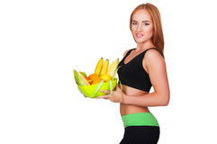 Woman eating healthy food royalty free stock images
