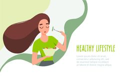 05 Woman eating healthy food. Woman eating healthy food. Vector banner in flat linear style vector illustration