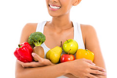 Woman eating healthy fruit Royalty Free Stock Image