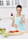 Woman eating healthy salad Royalty Free Stock Images