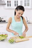 Woman eating healthy salad Stock Photos
