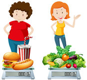Woman eating healthy and unhealthy food Royalty Free Stock Image