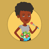 Woman eating healthy vegetable salad. Stock Photo