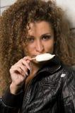 Woman eating ice cream Royalty Free Stock Image