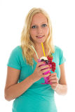 Woman eating ice cream stock images