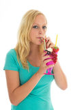 Woman eating ice cream Stock Photos