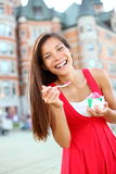 Woman eating ice cream in Quebec City Stock Photos