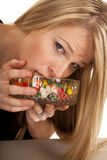 Woman Eating Jellybeans Mouth In Bowl Royalty Free Stock Images