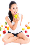 Woman eating and living healthy Royalty Free Stock Images