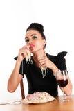 Woman eating macaroni hands Royalty Free Stock Photos