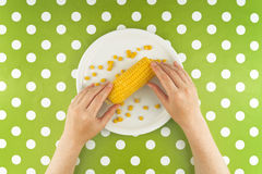 Woman eating maize corn, top view Royalty Free Stock Photography