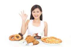 Woman eating meals royalty free stock photo