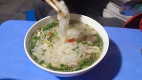 Woman Eat Traditional Vietnam Pho Bo Beef Noodle Soup With