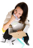 Woman eating paper sheet Royalty Free Stock Photo