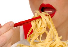 Woman Eating Pasta 4 Royalty Free Stock Photo
