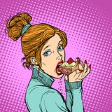 Woman eating a piece of cake. Diet and sweet. Comic book cartoon pop art retro vector illustration Stock Images