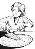 Woman eating pizza at home. Vector illustration in retro comic pop art line Royalty Free Stock Photos