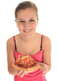 Woman eating pizza Royalty Free Stock Photography