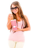 Woman eating popcorn Royalty Free Stock Photo
