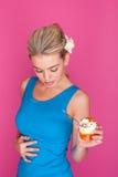 Woman eating pudding Royalty Free Stock Photos