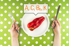 Woman eating raw red pepper, top view. Woman eating fresh raw red pepper full of vitamins A, C, B and K, top view Stock Photo