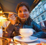 Woman eating restaurant Royalty Free Stock Photography