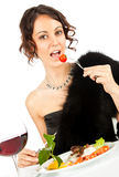 Woman eating salad Royalty Free Stock Images