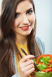 Woman eating salad . Royalty Free Stock Photography