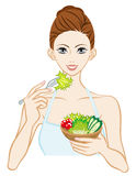 Woman Eating a Salad. Healthy eating image. Vector Illustration stock illustration
