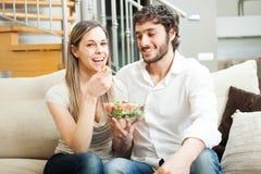 Woman eating a salad Stock Photo