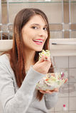Woman eating salat Royalty Free Stock Photography