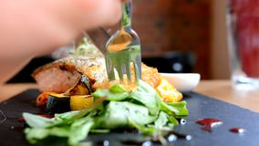 Woman eating salmon in restaurant stock video footage