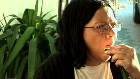 Woman Eating 02 stock video footage