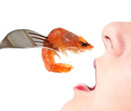 Woman eating shrimp. Stock Image