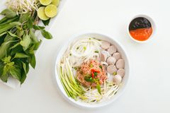 Woman eating traditional Vietnamese Pho noodle using chopsticks. Woman eating traditional Vietnamese Pho noodle using chopsticks Royalty Free Stock Photos