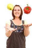 Woman eating vegetables Royalty Free Stock Photo
