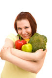 Woman Eating Vegetables Stock Photos