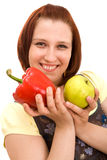Woman Eating Vegetables Stock Photography