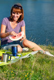 Woman eating watermelon Stock Image
