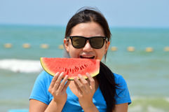 Woman Eating Watermelon stock photography