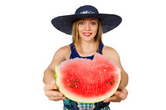 The woman eating watermelon isolated on white Stock Photography