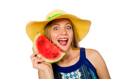 The woman eating watermelon isolated on white Stock Photos