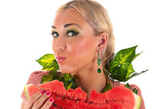 Woman eating watermelon surprise Royalty Free Stock Photos