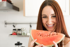 Woman eating watermelon Royalty Free Stock Photos