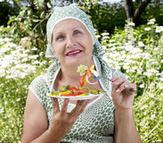 The woman eats salad Royalty Free Stock Images