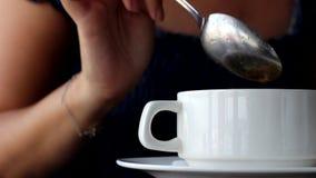 Woman eats soup. Clouse-up stock video
