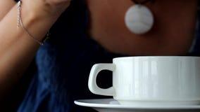 Woman eats soup. Clouse-up stock video footage